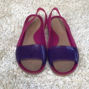 Crocs Purple & Pink Slingback Color Block Sandal 9